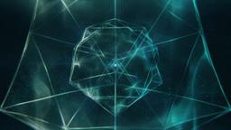 Sacred Geometry - Douple Icosahedron in Blue Liquid Spherical Style Rotating Animation