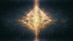 Sacred Geometry - Golden Yellow Octahedron Rotating in Dynamic Whirly Space Animation