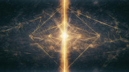 Sacred Geometry - Beautiful Octahedron Surrounded by Airy Windy Waves Rotating Animation