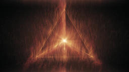 Sacred Geometry - Glowing Red Tetrahedron Sending out Fire Rotating Inner Space Animación