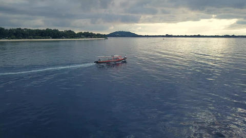 Aerial drone view. Speed boat yacht for tourism goes in ocean Footage