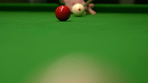 Close up of snooker shooting on snooker table Archivo