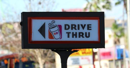 Dunkin Donuts Drive Thru Sign Archivo