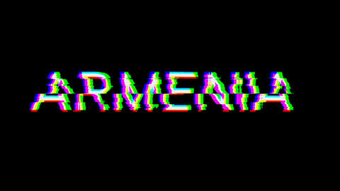 From the Glitch effect arises country name ARMENIA. Then the TV turns off. Alpha channel Animation