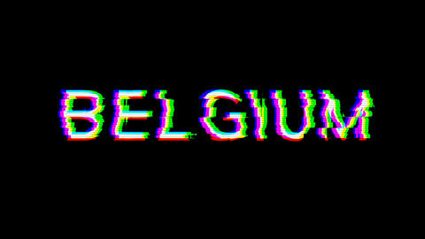 From the Glitch effect arises country name BELGIUM. Then the TV turns off. Alpha channel Animation