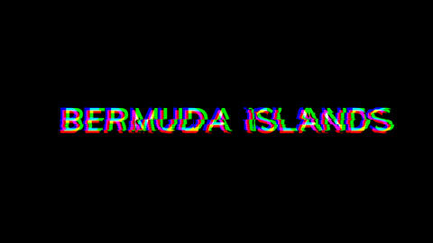 From the Glitch effect arises country name BERMUDA ISLANDS. Then the TV turns off. Alpha channel Animation