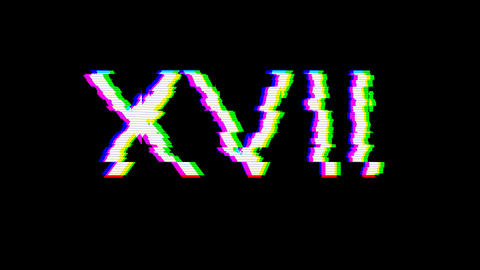 From the Glitch effect arises Roman numerals XVII. Then the TV turns off. Alpha channel Animation