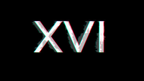 From the Glitch effect arises Roman numerals XVI. Then the TV turns off. Alpha channel Premultiplied Animation