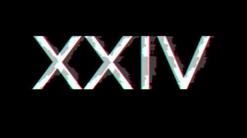 From the Glitch effect arises Roman numerals XXIV. Then the TV turns off. Alpha channel Animation