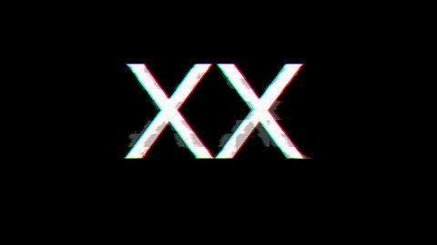 From the Glitch effect arises Roman numerals XX. Then the TV turns off. Alpha channel Premultiplied Animation