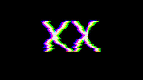 From the Glitch effect arises Roman numerals XX. Then the... Stock Video Footage