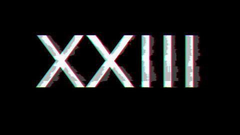 From the Glitch effect arises Roman numerals XXIII. Then the TV turns off. Alpha channel Animation