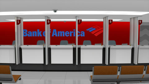 Editorial Bank of America retail counter Animation