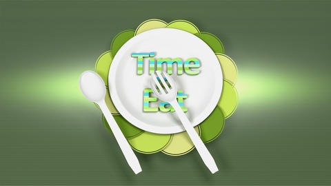 Time to eat, dancing spoon and fork on plate Animation