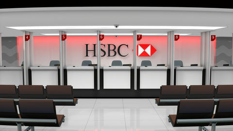 Editorial HSBC service counter Footage