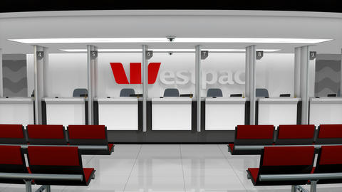 Editorial Westpac service counter Footage