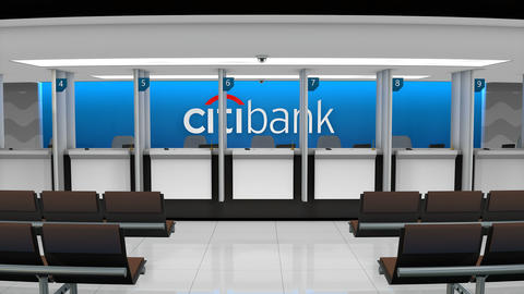 Editorial Citibank service counter Footage