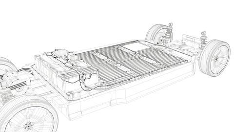 Artist rendering EV battery pack Footage