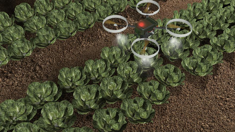 Artist rendering agricultural robotic drone Footage