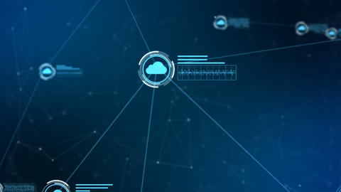 Secure global network. Digital cloud computing cyber security concept Animation