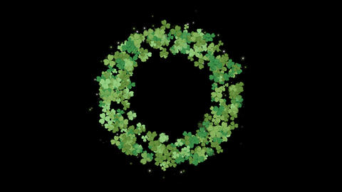 Clover leafs wreath for St. Patrick's day background with alpha Animation