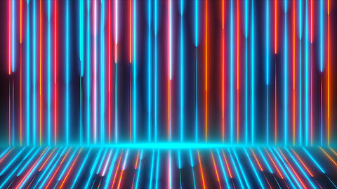 Bright colored neon beams are on wall and floor, modern…, Live Action