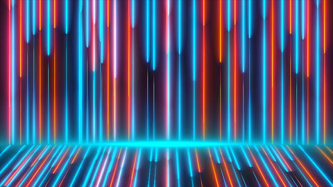 Bright colored neon beams are on wall and floor, modern... Stock Video Footage