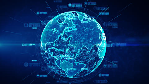 Secure data network. Cyber Security and Protection of personal data concept. Earth element furnished Animation