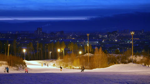 Glitch effect. Ski slope in the background of Yekaterinburg. Russia Footage