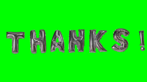 Word thanks from helium silver balloon letters floating on green screen Live Action