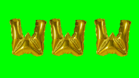 Word www web internet from helium gold balloon letters floating on green screen Live Action