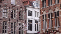 Belgium Bruges facades of Flemish city houses with Christmas decoration GIF