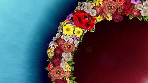 Animation of a swirling ring of flowers on a light blue and red background. Loop video CG動画