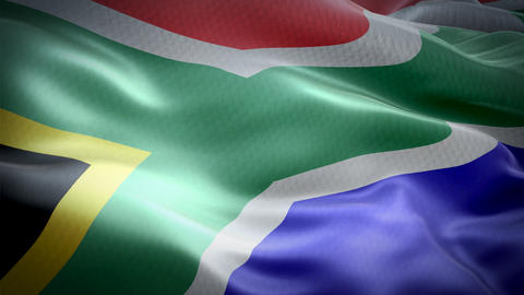 Realistic flag of South Africa waving with highly detailed fabric texture Footage