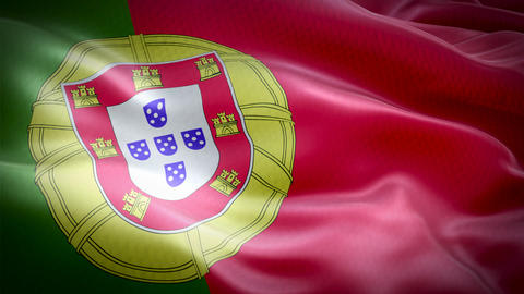 Realistic flag of Portugal waving with highly detailed fabric texture Live Action