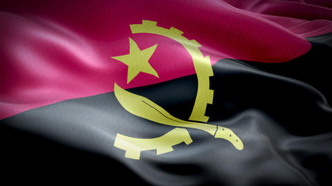 Realistic flag of Angola waving with highly detailed fabric texture Live Action