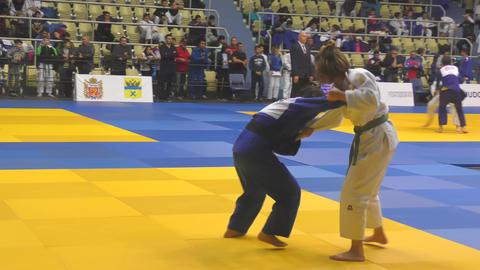 Orenburg, Russia - 21 October 2017: Girls compete in Judo GIF