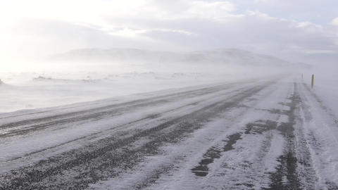 Road into the blizzard, winter in Iceland, Europe Footage