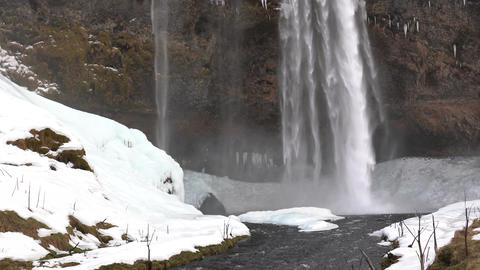 Seljalandsfoss on a cold winter day, Iceland, Europe Footage