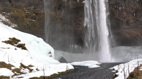 Seljalandsfoss on a cold winter day, Iceland, Europe Stock Video Footage