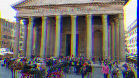 Glitch effect. Colonnade Pantheon, Rome, Italy - February 18, 2015: Temple of all the gods built in Live Action