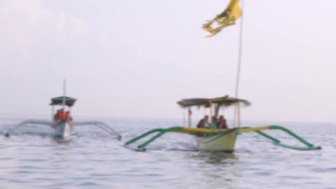 Two Indonesian Boats in the Sea. Defocused Archivo