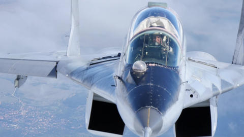 Fighter pilot in flight close view MiG-29 Fulcrum of Bulgarian Air Force Air to Air 4K Ultra HD Live Action
