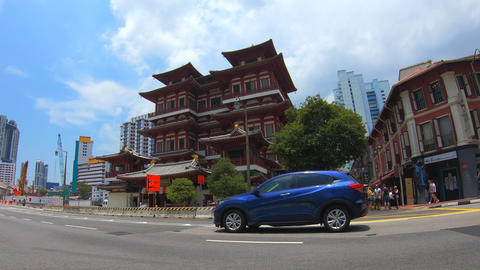 TimeLapse Of The Buddha Tooth Relic Temple In Chinatown Footage