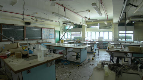 Abandoned School - Destroyed Chemistry Classroom 06 Footage