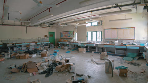 Abandoned School - Destroyed Chemistry Classroom 05 Footage