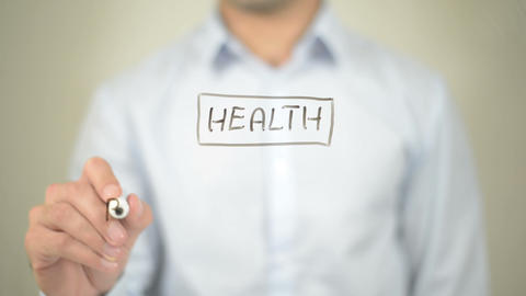 Health, Clip Art, Man writing on transparent screen Footage
