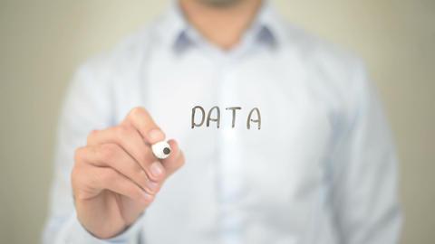 Data Security, Man writing on transparent screen Footage