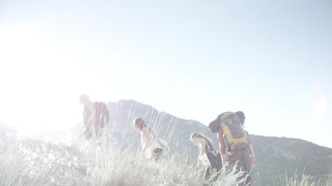 Four people hiking up a mountain trail into the sun Footage