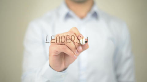 Leadership, Man writing on transparent screen Stock Video Footage